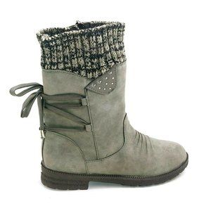 Womans Grey Faux Suede Ankle Boot Sweater Top 40
